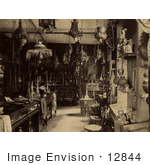 #12844 Picture Of A Store Interior With Lamps Pipes And Textiles