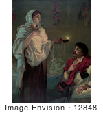 #12848 Picture Of Florence Nightingale With A Lamp Near A Man