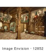 #12852 Picture of a Neuschwanstein Castle Bedroom, Germany by JVPD