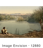 #12880 Picture Of An Arabian Man On The Shore Of The River Jordan