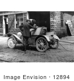 #12894 Picture Of Men Putting Gas In Their Automobile