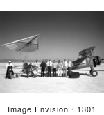 #1301 Stock Photo Of A Tow Plane Crew And Pilot By A Paresev 1-A