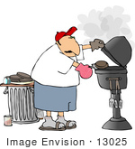 #13025 Middle Aged Caucasian Man Grilling Hamburgers Clipart