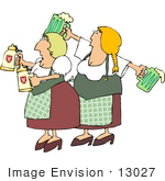 #13027 German Beer Maidens With Steins And Mugs Clipart