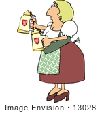 #13028 German Beer Maiden Clipart