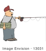 #13031 Caucasian Man Fishing Clipart