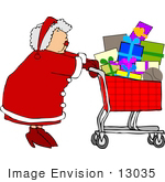#13035 Mrs Claus Christmas Shopping Clipart by DJArt