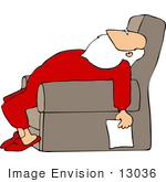 #13036 Exhausted Santa Claus In Longjohns Sleeping In A Chair Clipart