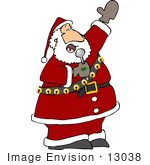 #13038 St Nicholas Singing Into A Microphone Clipart