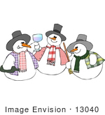 #13040 Three Snowmen Clipart