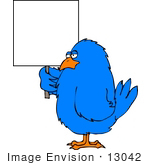 #13042 Blue Bird Holding A Blank Sign Clipart