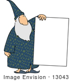 #13043 Old Wizard Holding A Blank Sign Clipart