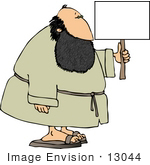 #13044 Caucasian Bearded Man In A Robe Carrying A Blank Sign Clipart