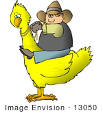 #13050 Cowboy Riding A Bird Clipart