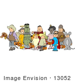 #13052 Costumed Trick Or Treaters On Halloween Clipart
