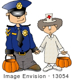 #13054 Brother And Sister Dressed As A Nurse And Cop On Halloween Clipart