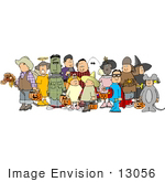 #13056 People In Costumes Trick Or Treating On Halloween Clipart