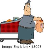 #13058 Middle Aged Caucasian Man Shopping For Underwear Clipart
