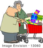 #13060 Middle Aged Caucasian Couple Christmas Shopping Clipart by DJArt