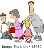 #13062 Caucasian Family Shopping At A Store Clipart