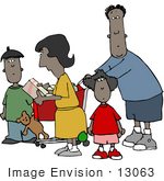 #13063 African American Family Shopping Clipart