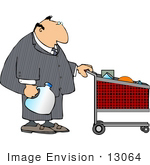 #13064 Middle Aged Caucasian Business Man Grocery Shopping Clipart