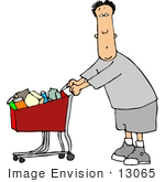 #13065 Caucasian Man Pushing A Shopping Cart At A Store Clipart