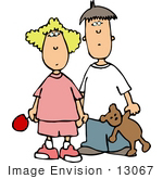 #13067 Caucasian Brother And Sister Clipart