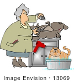 #13069 Senior Caucasian Woman Grooming a Dog and Cat Clipart by DJArt