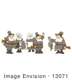 #13071 Group Of Five Pilgrims At Thanksgiving Clipart