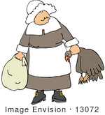 #13072 Pilgrim Woman Carrying A Dead Turkey And Sack Clipart