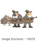 #13073 Two Female Pilgrim Hunters Looking For Turkey Clipart