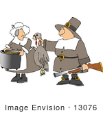 #13076 Pilgrim Couple With Dead Turkey Clipart