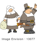 #13077 Caucasian Pilgrim Couple Clipart
