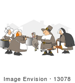 #13078 Pilgrims With Pots And A Turkey Clipart