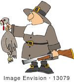 #13079 Pilgrim Holding A Dead Turkey And Rifle Clipart