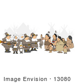 #13080 Pilgrims And Native Americans At Thanksgiving Clipart