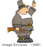 #13081 Pilgrim Holding A Rifle One Hand In The Air Clipart