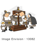 #13082 Pilgrims One In A Pillory Clipart