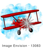 #13083 Biplane Pilot Flying Clipart