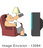 #13084 Fat Caucasian Man Watching Tv Clipart