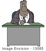 #13085 African American Businessman Sitting At His Desk Clipart