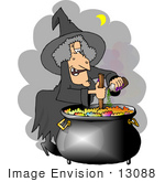 #13088 Witch Adding Ingredients To Her Potion In A Cauldron Clipart