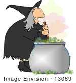 #13089 Witch Stirring Her Potion Clipart