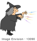 #13090 Witch Casting A Spell Clipart