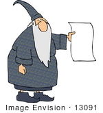#13091 Wizard Holding A Blank Piece Of Paper Clipart