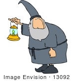 #13092 Wizard Carrying A Lantern Clipart