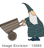 #13093 Wizard Pushing a Wooden Wagon Clipart by DJArt