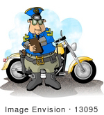 #13095 Motorcycle Cop Writing A Ticket Clipart