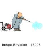 #13096 Man Using A Pressure Washer Clipart